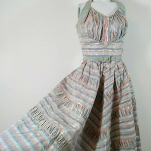 50s halter pleated striped circle skirt dress